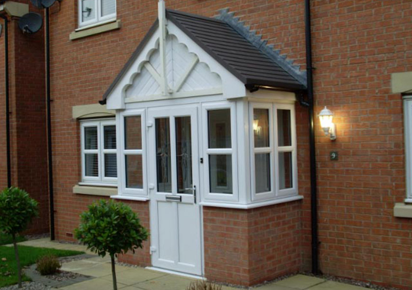 Porch design and build in west midlands dw windows for Upvc entrance doors