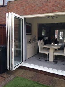 White upvc bifold door exterior