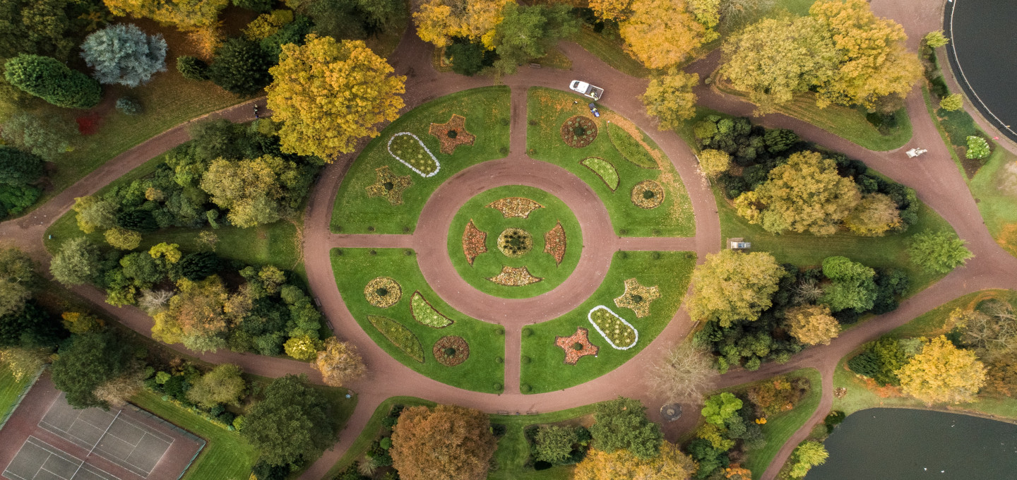 Aerial view of park in Wolverhampton